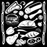 Black and white food pattern. A black and white food pattern includes meat, spices, sausages, fish, hamburger and grilled chicken Royalty Free Stock Image