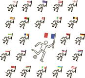 Black and white football players with ball and coloured flags, the thin black lines, vector, icons Stock Images