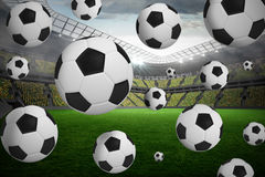 Black and white footballs Royalty Free Stock Photo