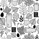 Black and white forest illustration for coloring. Stock Images