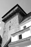 Black&White. Fortified saxon medieval church in the village Crit, Transylvania Royalty Free Stock Images