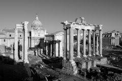 Black and white forum. Black and white picture of the roman forum with the temple of vespasian in the foreground Stock Photo