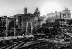 Black and White Forum Romanum in Rome, Italy Royalty Free Stock Photos