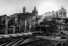 Black and White Forum Romanum in Rome, Italy. View of Forum Romanum in Rome, Italy Royalty Free Stock Photos