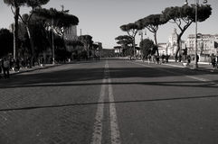 Black and white forums avenue in Rome. Forums in Rome in black and white Stock Images