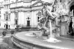 Black and white fountain of the Four Rivers on Navona Square in Royalty Free Stock Photo
