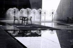 Black and white fountains Stock Photos