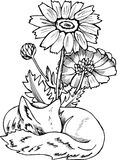 Black and white fox pattern. Illustration of a cosmic fox with flowers stock illustration