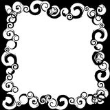 Black white frame. A black white frame bordered by twirls, circles patterns Stock Image