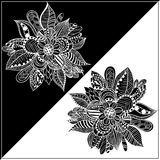 Black and white frame with abstract image of a flower. Royalty Free Stock Image