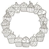Black and white frame with cute cupcakes for coloring book. Vector illustration Royalty Free Stock Image