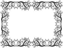 Black and white frame with floral elements Royalty Free Stock Photography