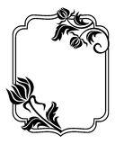 Black and white frame with flowers silhouettes. Raster clip art. Stock Photo