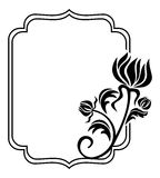 Black and white frame with flowers silhouettes. Raster clip art. Royalty Free Stock Images