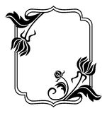 Black and white frame with flowers silhouettes. Raster clip art. Royalty Free Stock Photo