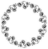 Black and white frame with flowers silhouettes. Black and white round frame with flowers silhouettes. Vector clip art Royalty Free Stock Photo