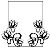Black and white frame with flowers silhouettes. Royalty Free Stock Photography