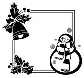 Black and white frame with funny snowman, holly berries and pine cones Royalty Free Stock Image