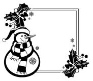 Black and white frame with funny snowman, holly berries and pine cones Royalty Free Stock Photo