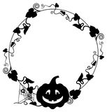 Black and white  frame with Halloween pumpkin silhouette. Royalty Free Stock Images