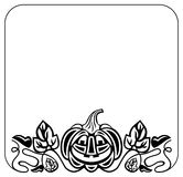 Black and white frame with Halloween pumpkin silhouette Royalty Free Stock Photos