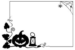 Black and white  frame with Halloween pumpkin silhouette. Royalty Free Stock Photos