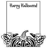 Black and white frame with Halloween pumpkin and text 'Happy Halloween!' Stock Images