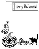Black and white frame with Halloween pumpkin and text 'Happy Halloween!' Stock Photo