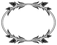 Black and white frame outline decorative flowers. Stock Images
