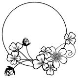 Black and white frame with shamrock contour. Raster clip art. Black and white round frame with shamrock contour. Copy space. Raster clip art royalty free stock photography