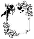 Black and white frame with silhouettes of Cupid and hearts. Rast Stock Photos