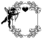 Black and white frame with silhouettes of Cupid and hearts. Rast Stock Photo