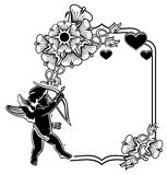 Black and white frame with silhouettes of Cupid and hearts. Rast Stock Photography