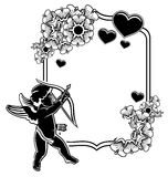 Black and white frame with silhouettes of Cupid and hearts. Rast Royalty Free Stock Image