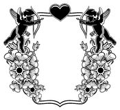 Black and white frame with silhouettes of Cupid and hearts. Rast Stock Images