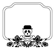 Black and white frame with skull in hat and roses. Stock Photography