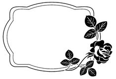 Black and white frame with stylized roses silhouettes. Raster cl Royalty Free Stock Photo