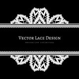 Black and white frame with tatting lace borders. Black and white background with lace borders, divider, header, tatting lace, ornamental lacy frame template stock illustration
