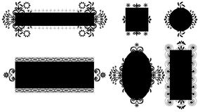 Black and white frames. Black and white frames with swirl and flower details Royalty Free Stock Images