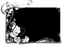 Black and white framework with flowers. Vector illustration of framework with flowers for congratulations Stock Images