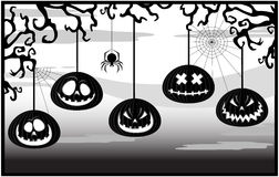 Black-and-white framework with pumpkins Stock Photos