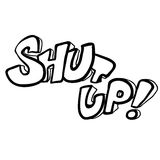black and white freehand drawn cartoon shut up! symbol Stock Image
