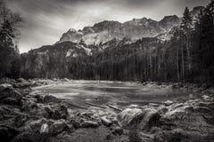 Black and white frozen lake Royalty Free Stock Photo