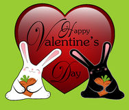 Black and white funny rabbits. This vector illustration may be used as Valentine card Royalty Free Stock Photos