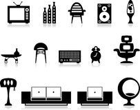 Black and white furniture set Stock Images