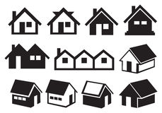 Black and White Gabled Roof House Icon Set Royalty Free Stock Images