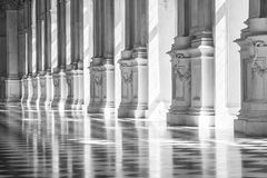 Black and white gallery in a beautiful palace Stock Images