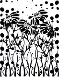 Black and white garden Royalty Free Stock Image