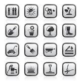 Black and white gardening tools and objects icons Stock Image