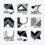 Black and white geometric design. Minimalistic design, creative vector concept poster Black and white trend modern geometric abstract background elements stock illustration